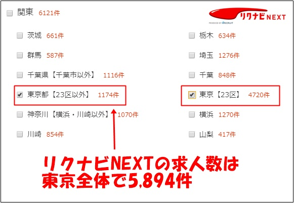 リクナビNEXTの東京での求人件数